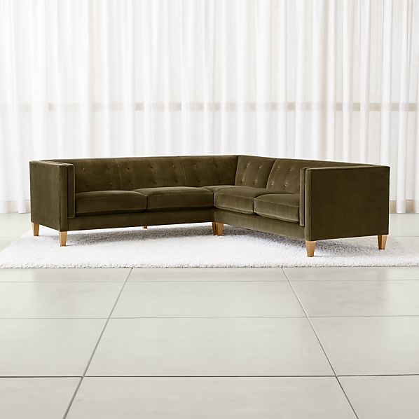 Aidan Velvet 2-Piece Left Arm Corner Tufted Sectional Sofa + Reviews |  Crate and Barrel
