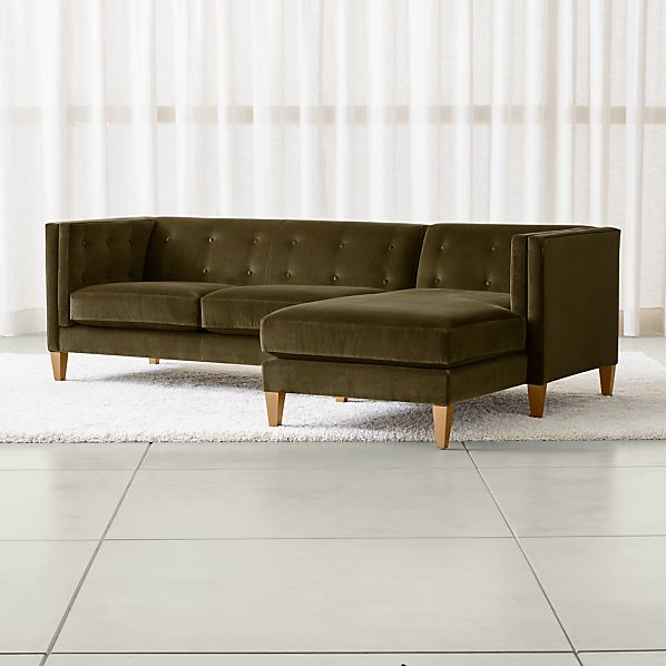 Aidan Green Sectional Sofa with Chaise + Reviews | Crate and Barrel