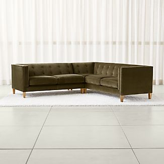 Aidan Velvet 2 Piece Right Arm Corner Tufted Sectional Sofa