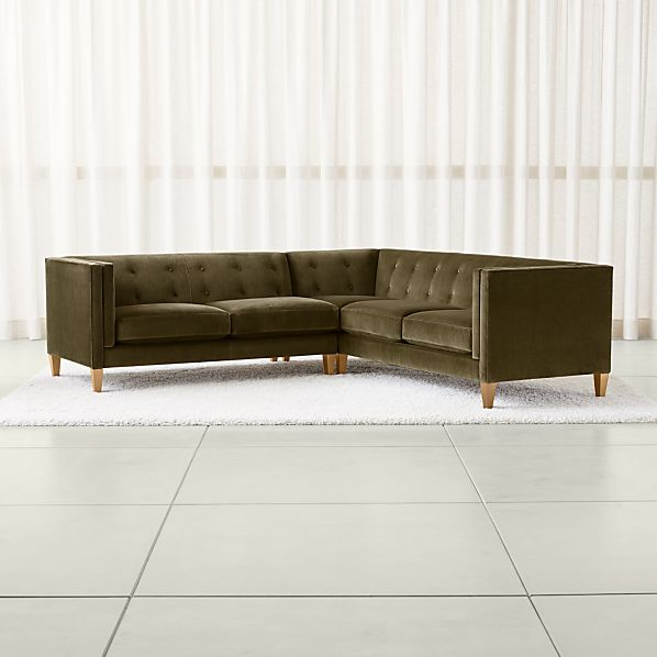 Aidan Olive Green Sectional Sofa | Crate and Barrel