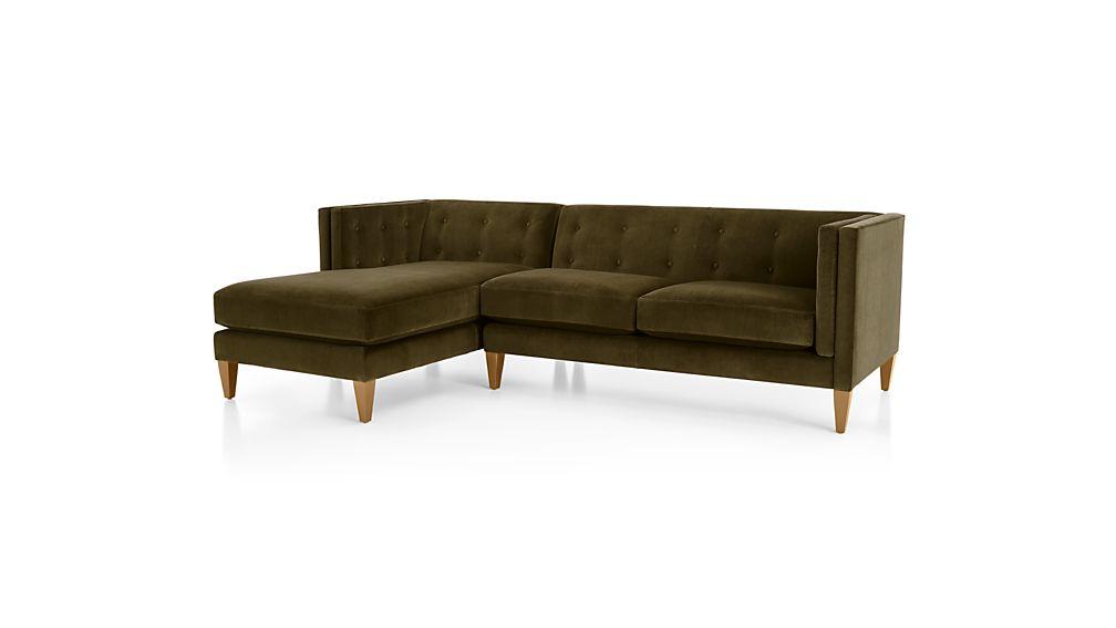 Aidan Velvet 2-Piece Right Arm Chaise Sectional Sofa