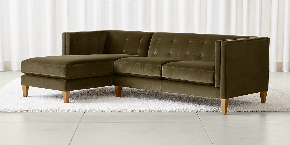 Aidan Velvet Sectional Sofas - Sectional Sofas: Leather And Fabric Crate And Barrel