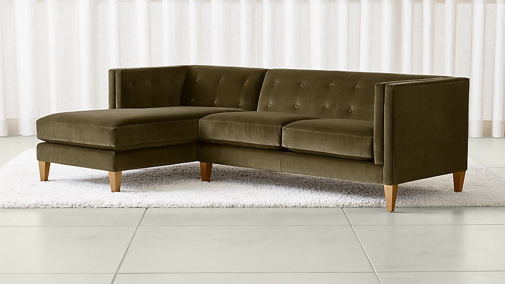 Aidan Velvet Olive Green Sectional Sofa