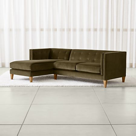 Aidan Velvet Olive Green Sectional Sofa + Reviews | Crate and Barrel