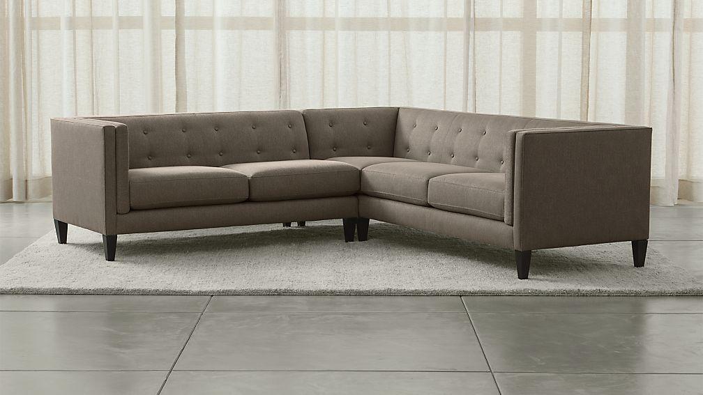 Aidan Grey Tufted Sectional Sofa + Reviews | Crate and Barrel