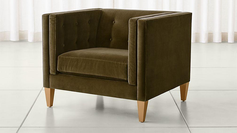 """Aidan Velvet 38"""" Tufted Chair - Image 1 of 11"""