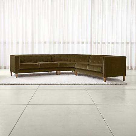 Aidan Velvet 3-Piece Wedge Tufted Sectional Sofa | Crate and Barrel