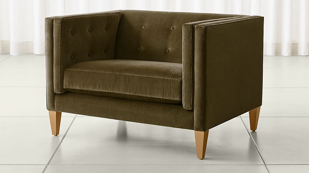 Aidan Velvet Tufted Chair And A Half Reviews Crate And