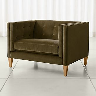 Awesome Aidan Velvet Tufted Chair And A Half
