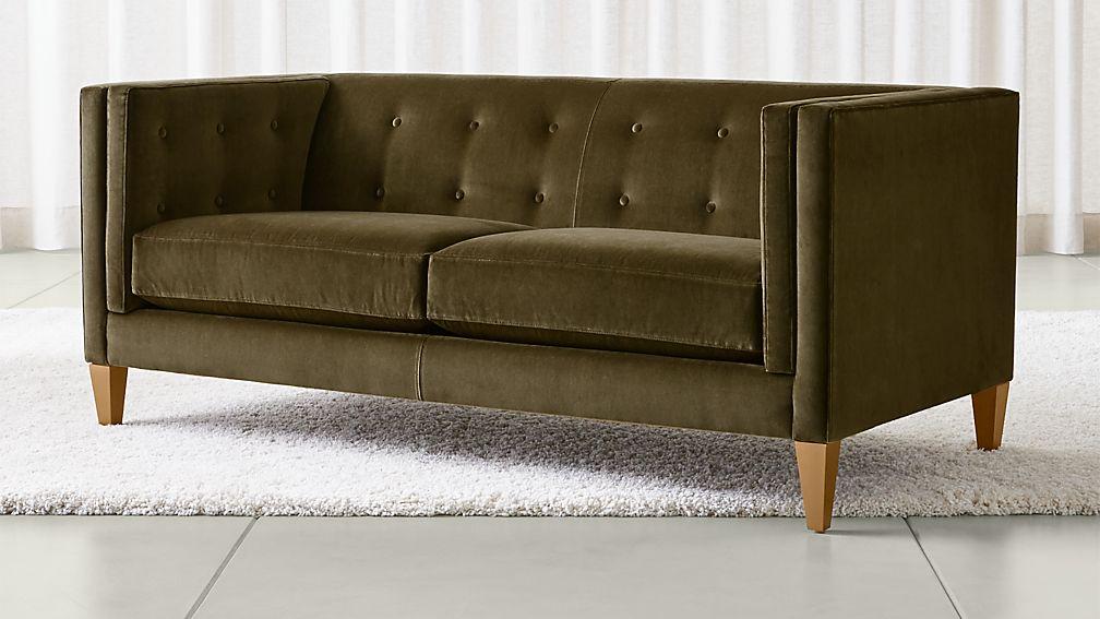 Aidan Velvet Tufted Apartment Sofa - Image 1 of 7