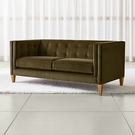Brilliant Aidan Green Velvet Apartment Sofa Crate And Barrel Gmtry Best Dining Table And Chair Ideas Images Gmtryco