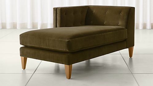 Aidan Velvet Left Arm Tufted Chaise : sofa and chaise lounge - Sectionals, Sofas & Couches