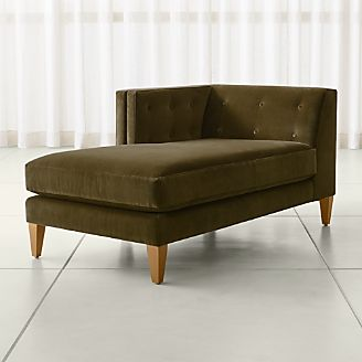 Aidan Velvet Left Arm Tufted Chaise