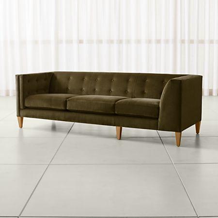 Aidan Velvet Green Corner Sofa + Reviews | Crate and Barrel