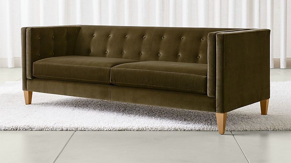 Aidan Dark Green Velvet Sofa Reviews Crate And Barrel