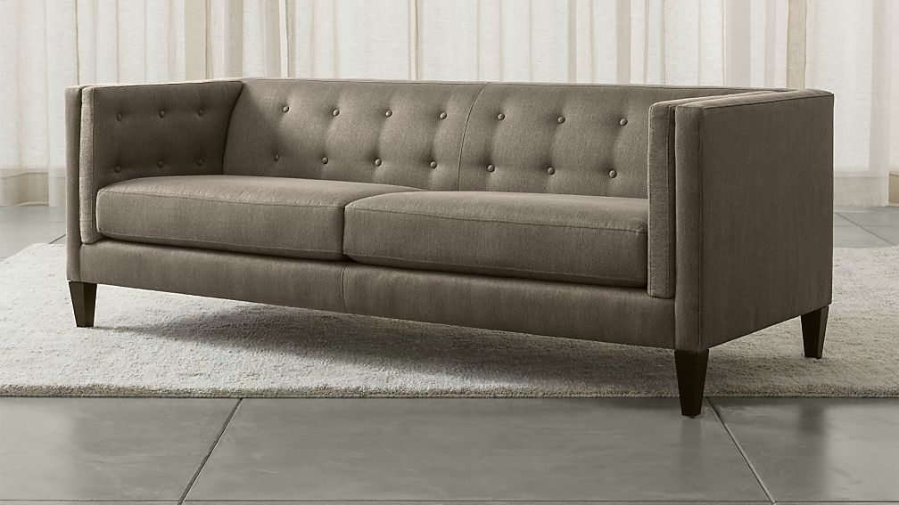 Aidan Grey Tufted Sofa Reviews Crate And Barrel