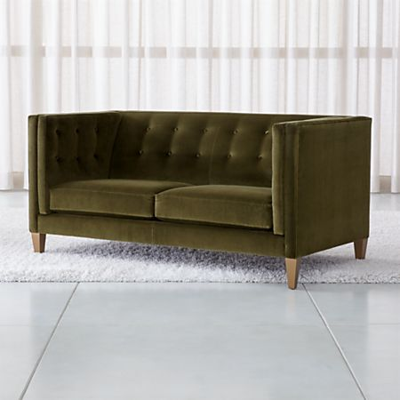 Tremendous Aidan Tall Velvet Tufted Apartment Sofa Reviews Crate And Barrel Canada Download Free Architecture Designs Viewormadebymaigaardcom