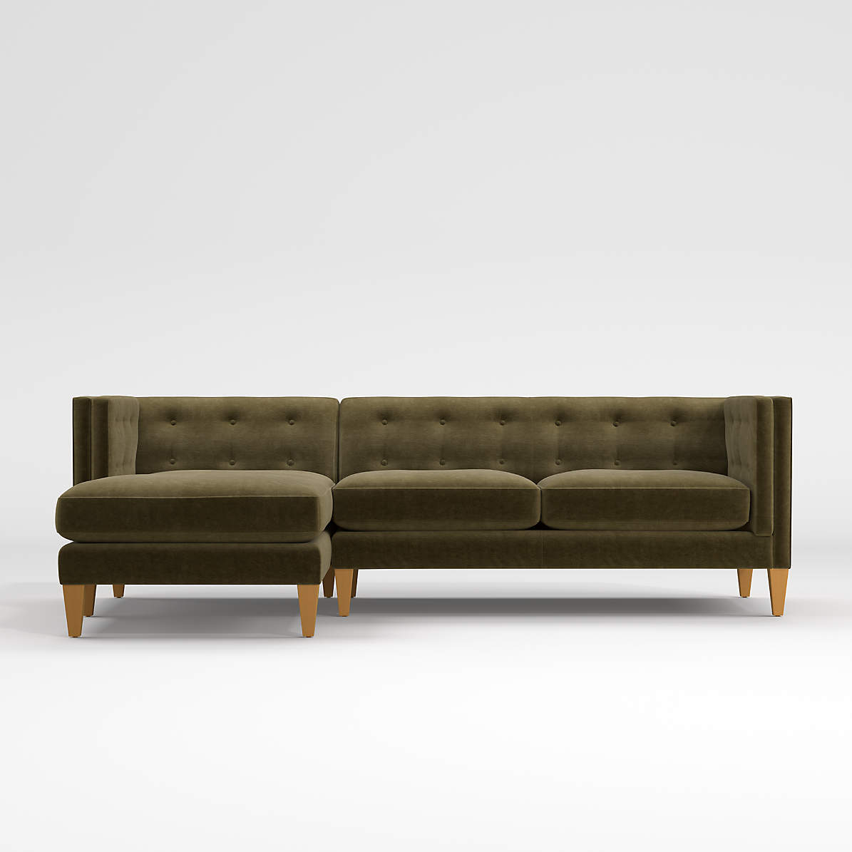 Aidan Velvet Olive Green Sectional Sofa Reviews Crate And Barrel