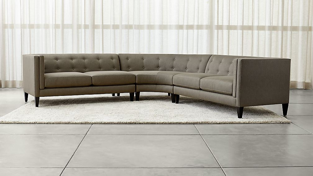 Aidan Grey 3-Piece Sectional Sofa + Reviews | Crate and Barrel