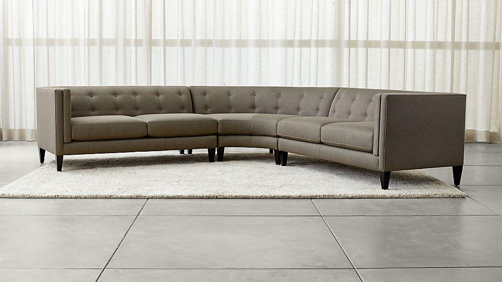 Aidan Grey 3-Piece Sectional Sofa + Reviews   Crate and Barrel