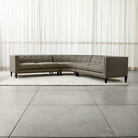Aidan Grey 3-Piece Sectional Sofa + Reviews | Crate and Barrel