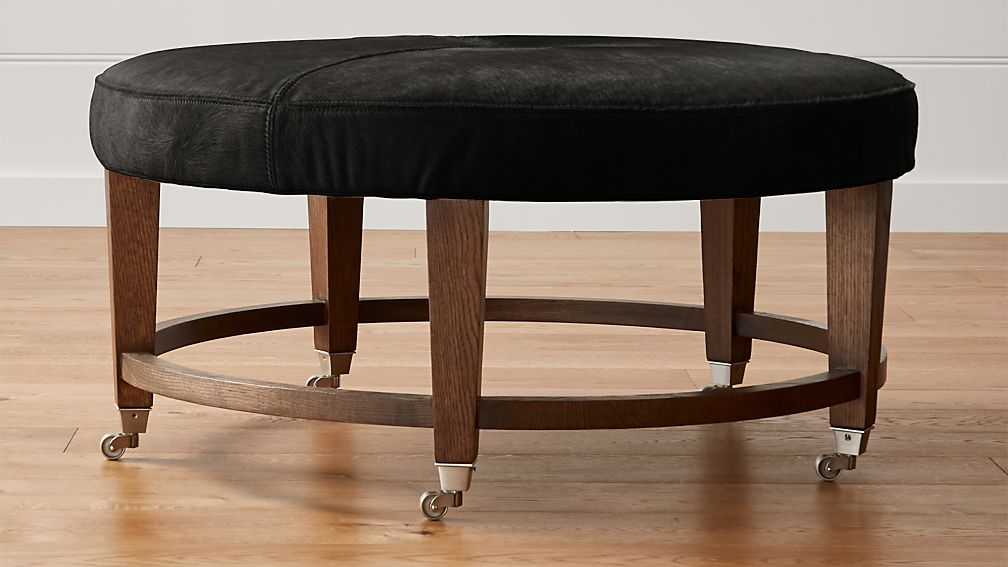 """Ainsley 38"""" Round Leather Cocktail Ottoman"""