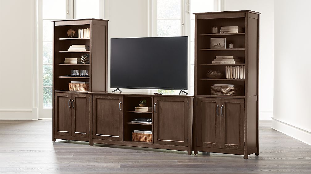 "Ainsworth Cocoa 64"" Media Center and 2 Towers with Glass/Wood Doors - Image 1 of 4"