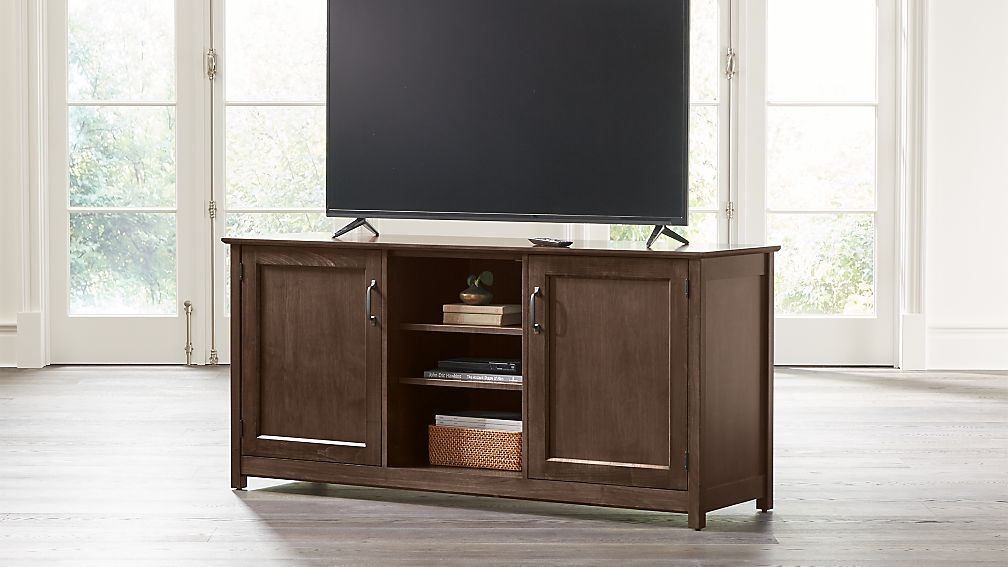 "Ainsworth Cocoa 64"" Media Console with Glass/Wood Doors - Image 1 of 8"