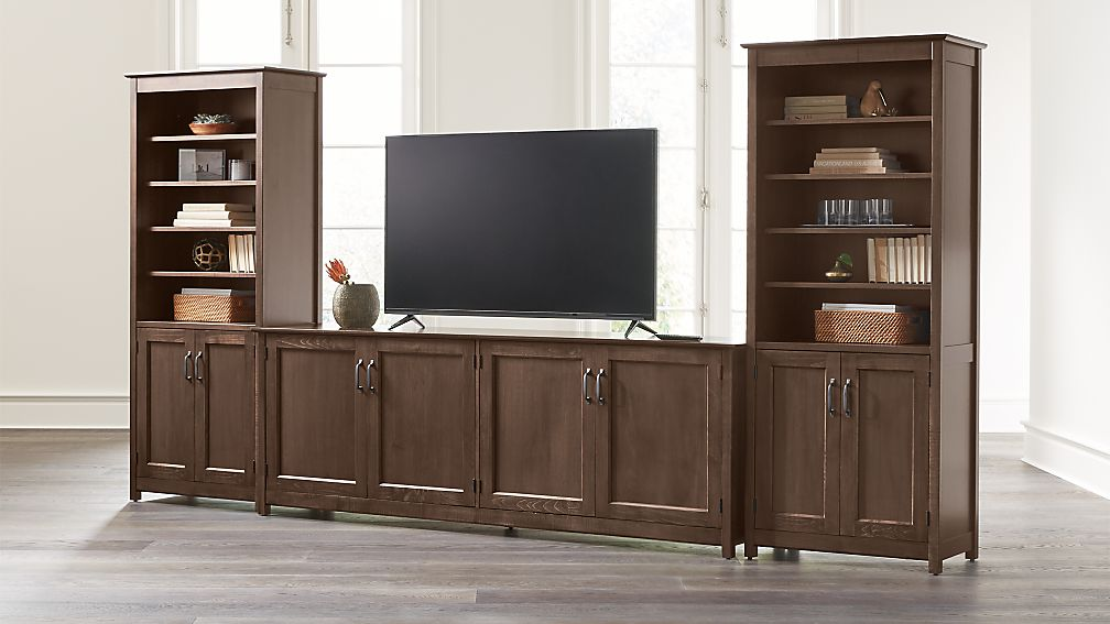 "Ainsworth Cocoa 85"" Media Center and Two 30"" Towers with Glass/Wood Doors - Image 1 of 4"