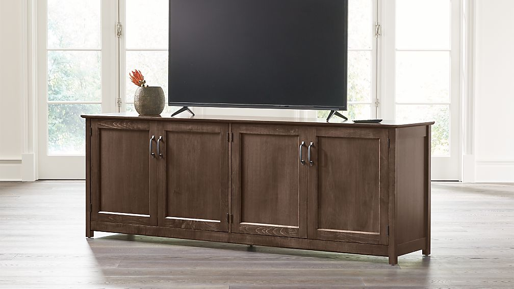 "Ainsworth Cocoa 85"" Media Console with Glass/Wood Doors - Image 1 of 8"