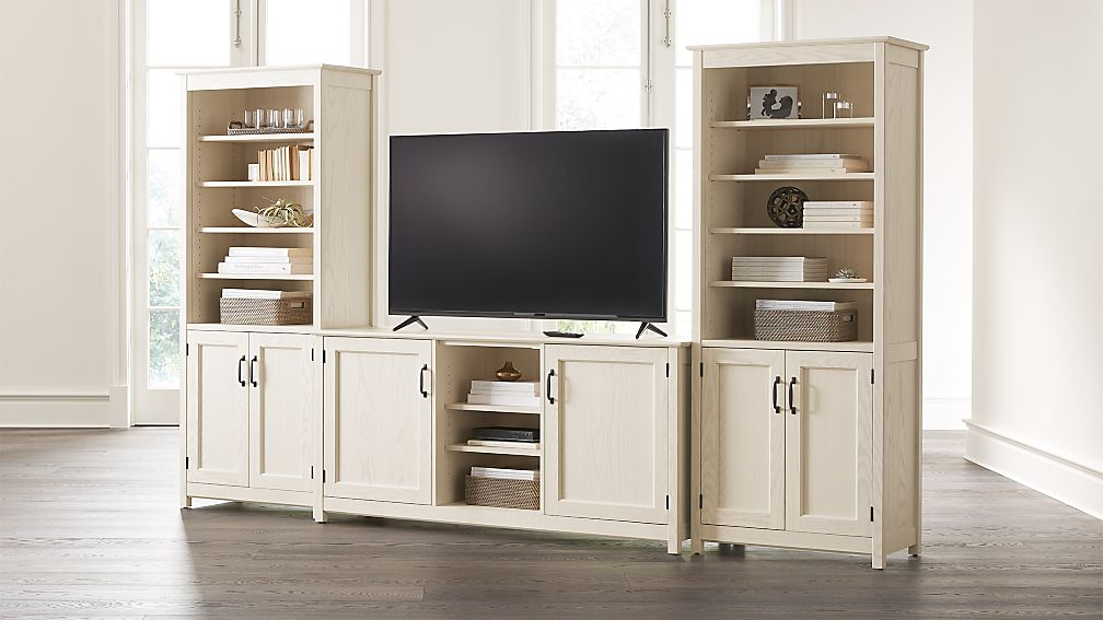 """Ainsworth Cream 64"""" Media Center and 2 Towers with Glass/Wood Doors - Image 1 of 3"""