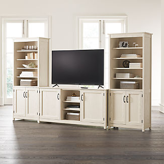 Ainsworth Cream 64 Media Center And 2 Towers With Gl Wood Doors