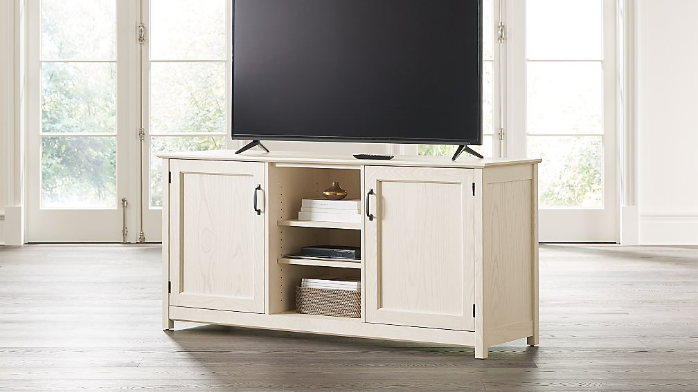 """Ainsworth Cream 64"""" Media Console with Glass/Wood Doors - Image 1 of 8"""