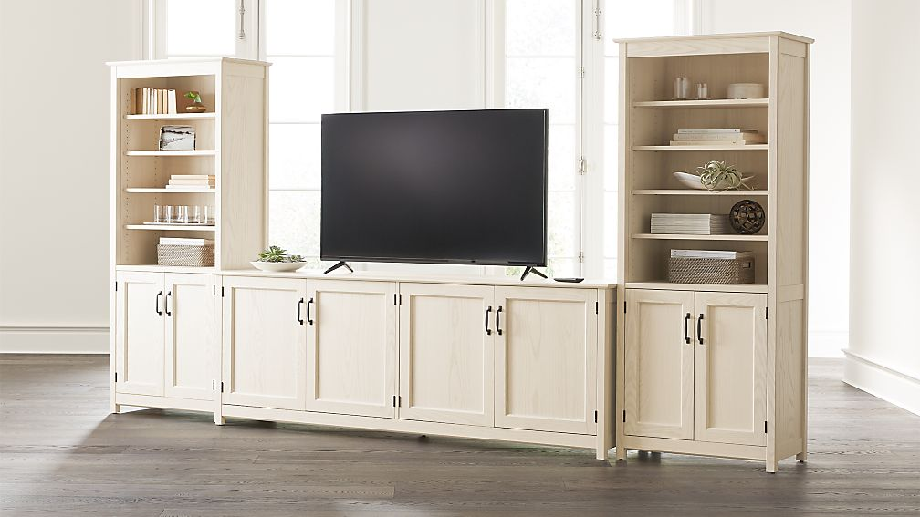 """Ainsworth Cream 85"""" Media Center and Two 30"""" Towers with Glass/Wood Doors - Image 1 of 4"""