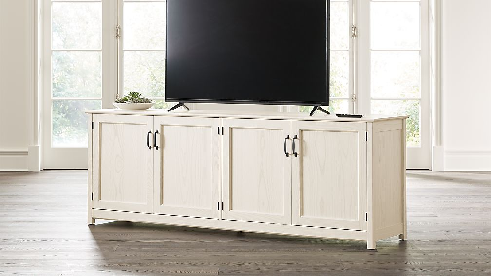 "Ainsworth Cream 85"" Media Console with Glass/Wood Doors - Image 1 of 8"