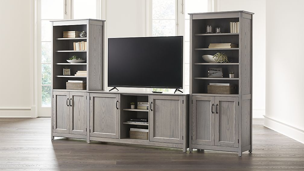 """Ainsworth Dove 64"""" Media Center and 2 Towers with Glass/Wood Doors - Image 1 of 5"""
