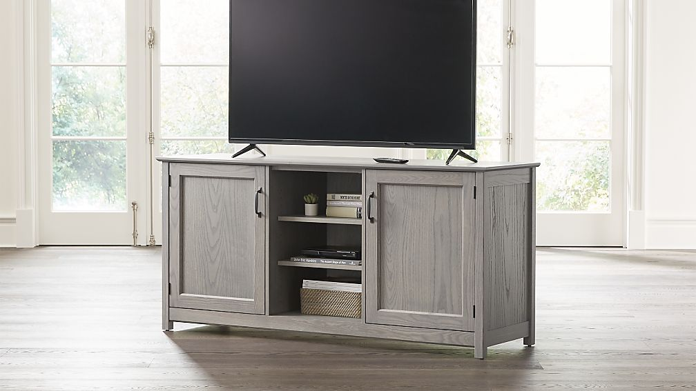 """Ainsworth Dove 64"""" Media Console with Glass/Wood Doors - Image 1 of 8"""
