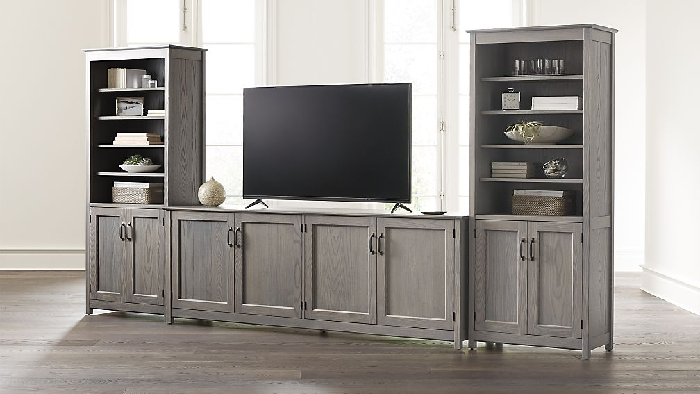 "Ainsworth Dove 85"" Media Center and Two 30"" Towers with Glass/Wood Doors - Image 1 of 5"