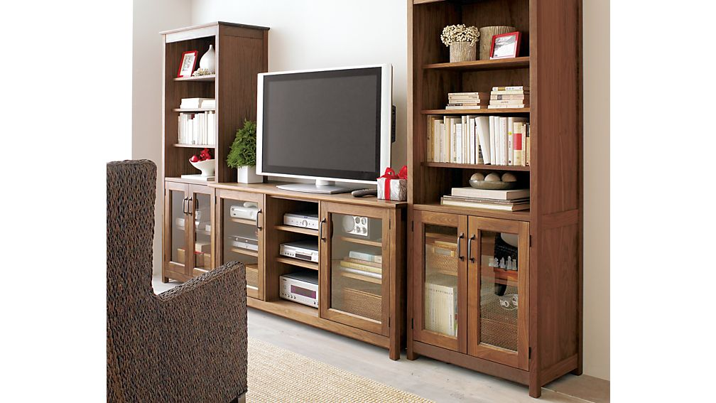 """Ainsworth Walnut 30"""" Media Tower with Glass/Wood Doors"""