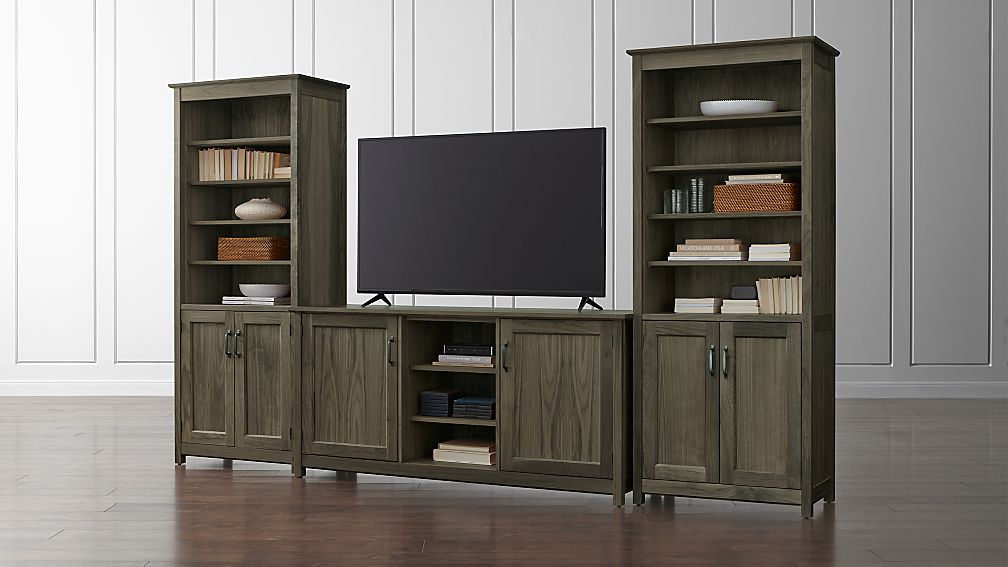 Ainsworth Walnut 64 Media Center And 2 Towers With Gl Wood Doors Reviews Crate Barrel