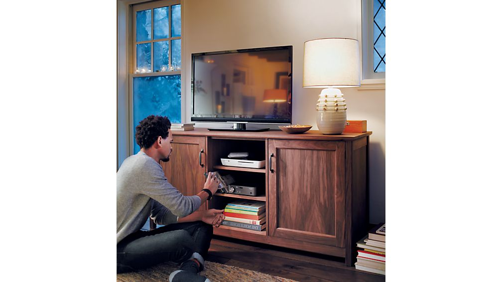 """Ainsworth Walnut 64"""" Media Console with Glass/Wood Doors"""
