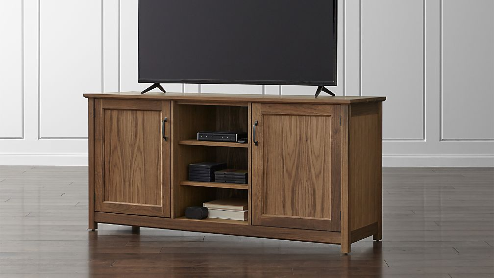 "Ainsworth Walnut 64"" Media Console with Glass/Wood Doors - Image 1 of 11"