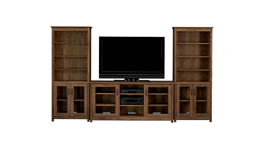"""Ainsworth Walnut 64"""" Media Center and 2 Towers with Glass/Wood Doors"""