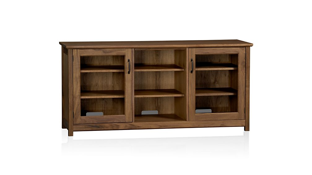 Ainsworth Walnut 64 Quot Media Console With Glass Wood Doors
