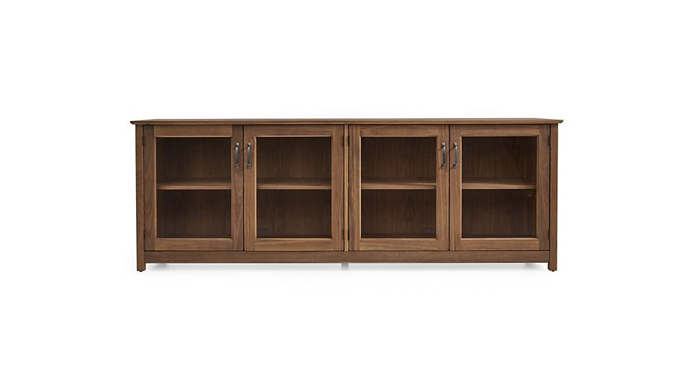 """Ainsworth Walnut 85"""" Media Console with Glass/Wood Doors"""