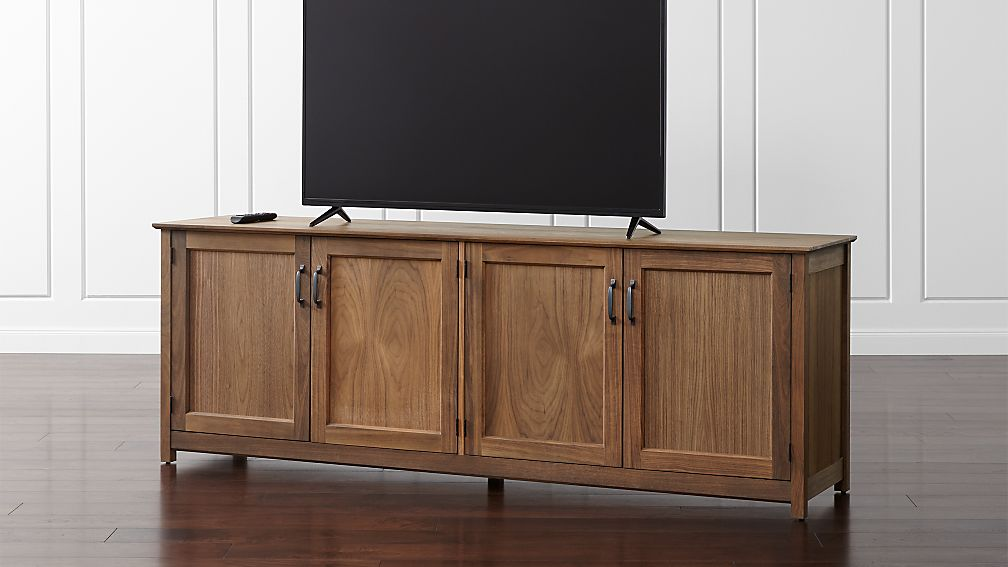 "Ainsworth Walnut 85"" Media Console with Glass/Wood Doors - Image 1 of 8"