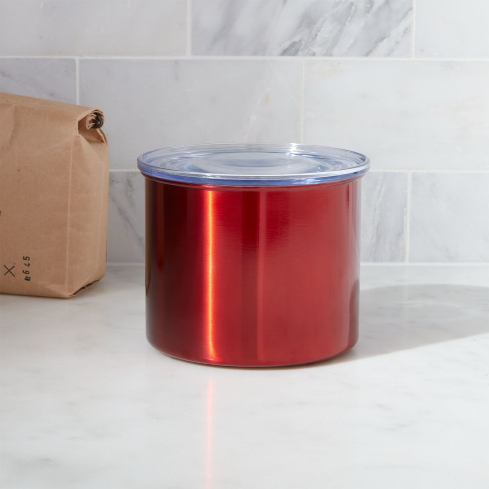 Airscape Small Red Canister - Crate and Barrel