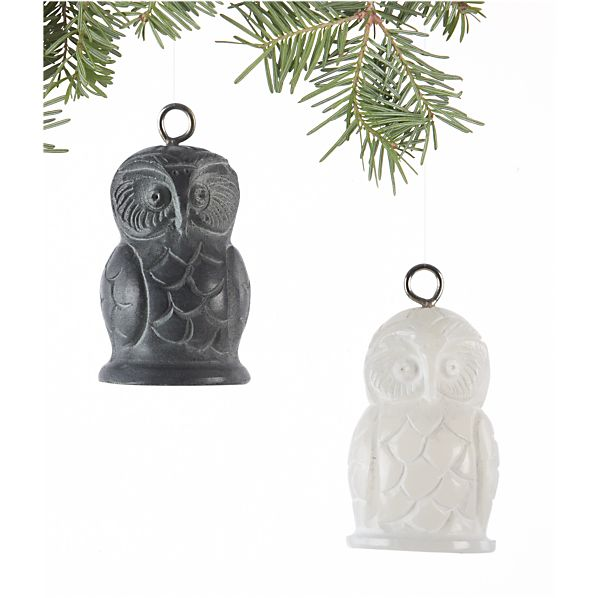 Set of 2 Carved Owl Ornaments