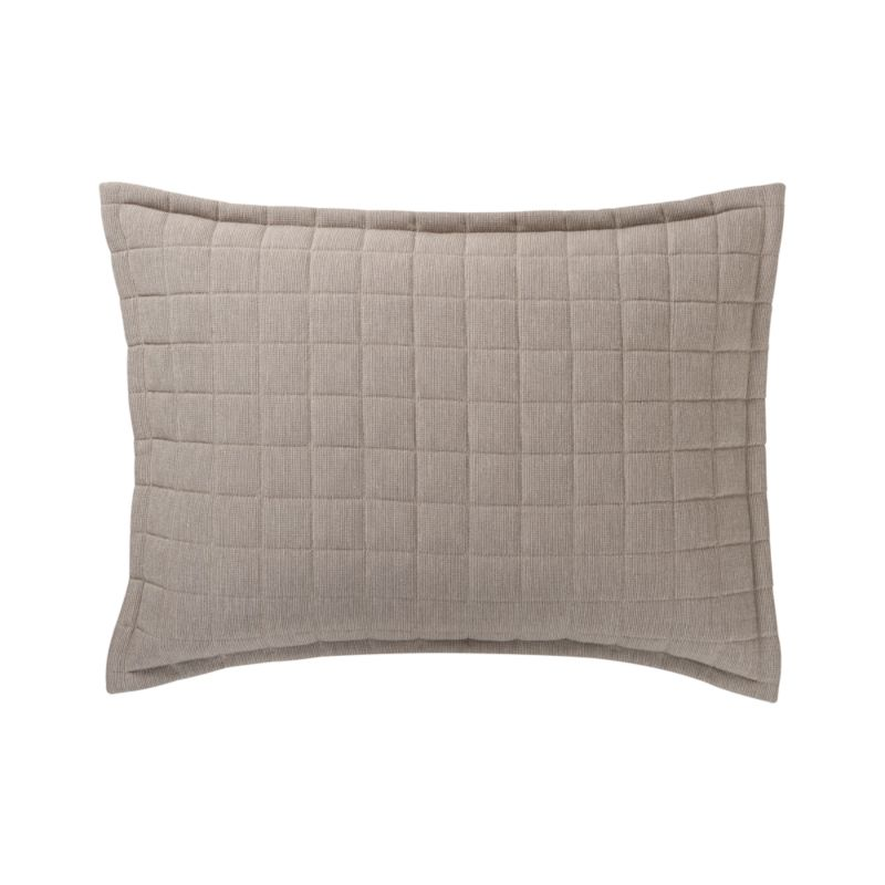 Box-quilted linens in neutral rayon-cotton dress up the guestroom. Pillow shams have overlapping side closure.<br /><br /><NEWTAG/><ul><li>Front: rayon-cotton blend; back: 100% cotton</li><li>100% polyester fill</li><li>Dry clean</li></ul><br />
