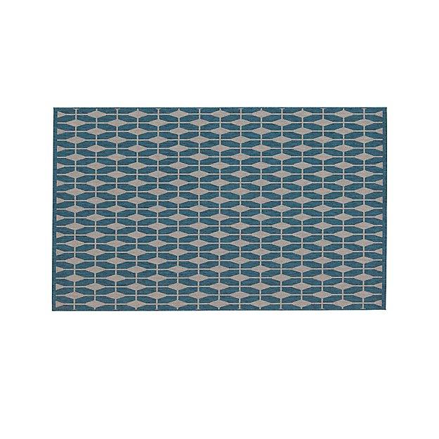 Aldo Blue Indoor-Outdoor Rug 5'x8'